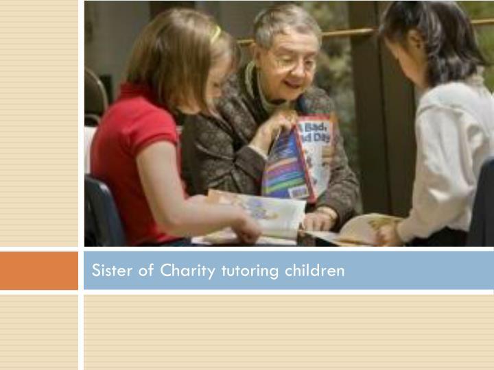 Sister of Charity tutoring children