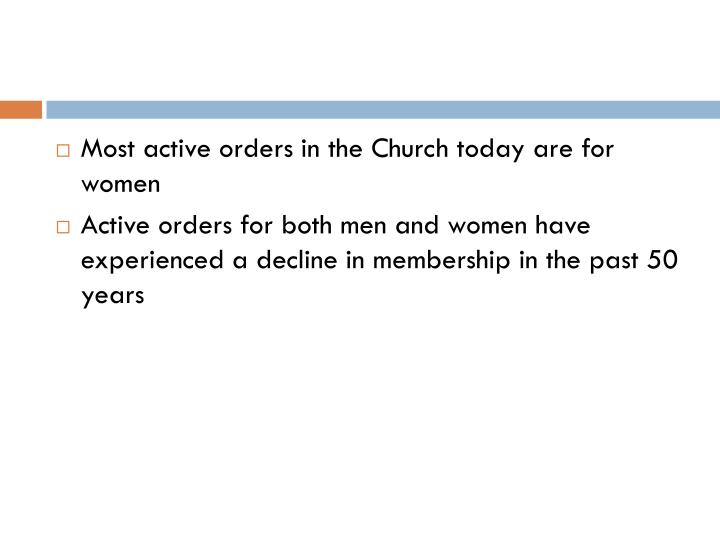 Most active orders in the Church today are for women