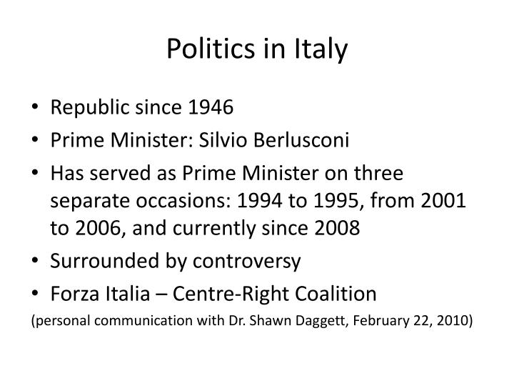 Politics in Italy