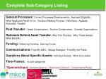 complete sub category listing