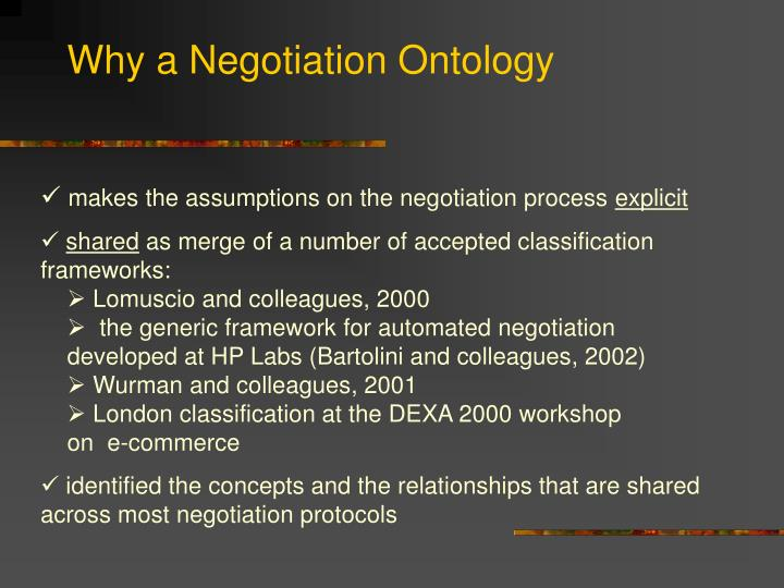 Why a Negotiation Ontology