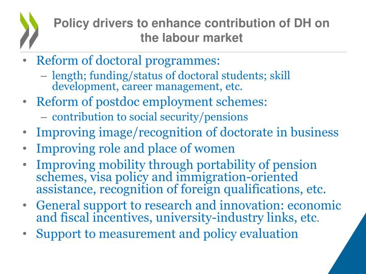 Policy drivers to enhance contribution of DH on the labour market