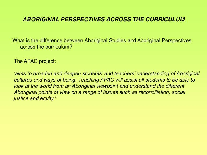 ABORIGINAL PERSPECTIVES ACROSS THE CURRICULUM