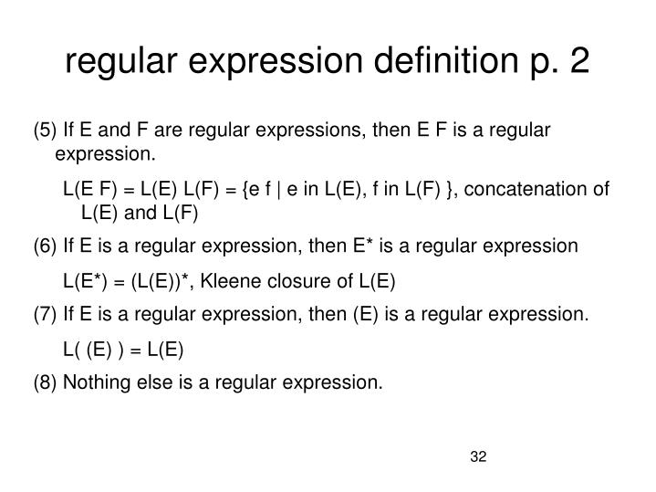 regular expression definition p. 2