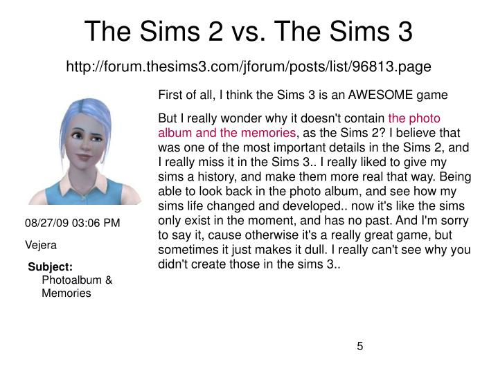 The Sims 2 vs. The Sims 3