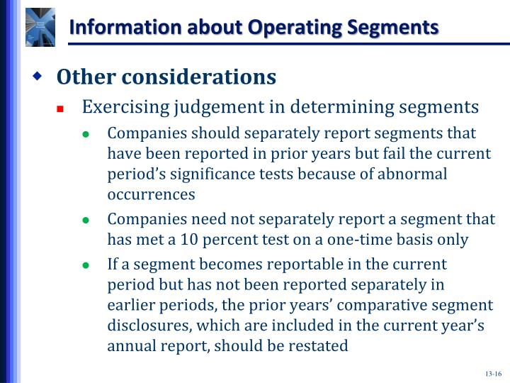 Information about Operating Segments
