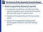 the format of the quarterly financial report1