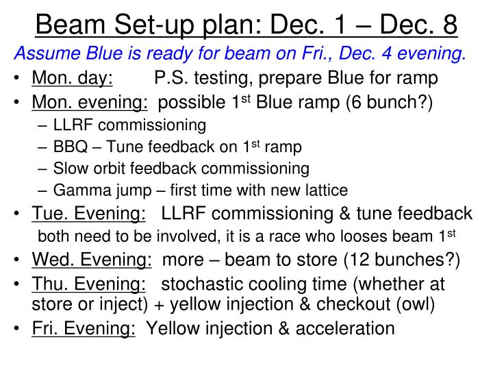 Beam Set-up plan: Dec. 1 – Dec. 8