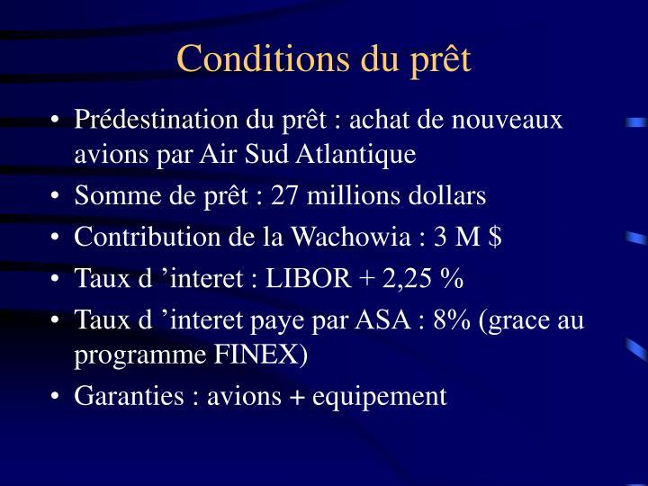 Conditions du prêt