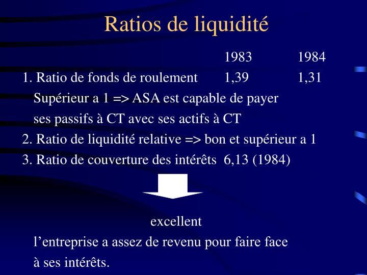Ratios de liquidité