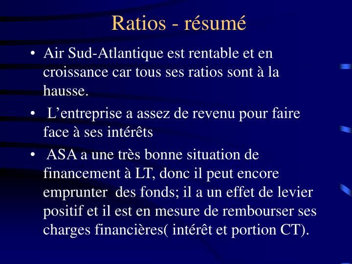 Ratios - résumé