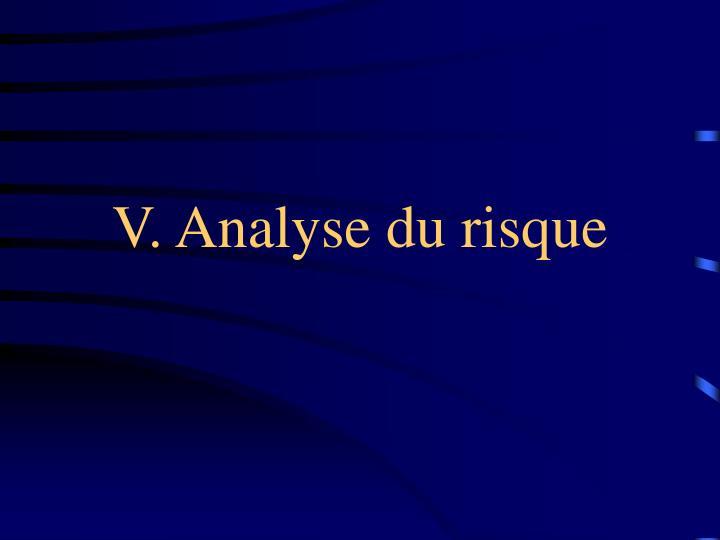 V. Analyse du risque