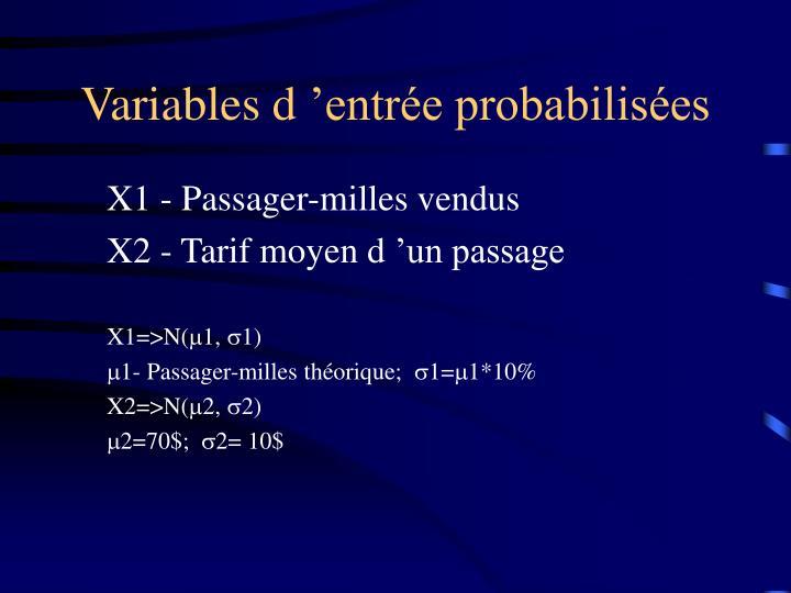 Variables d'entrée probabilisées