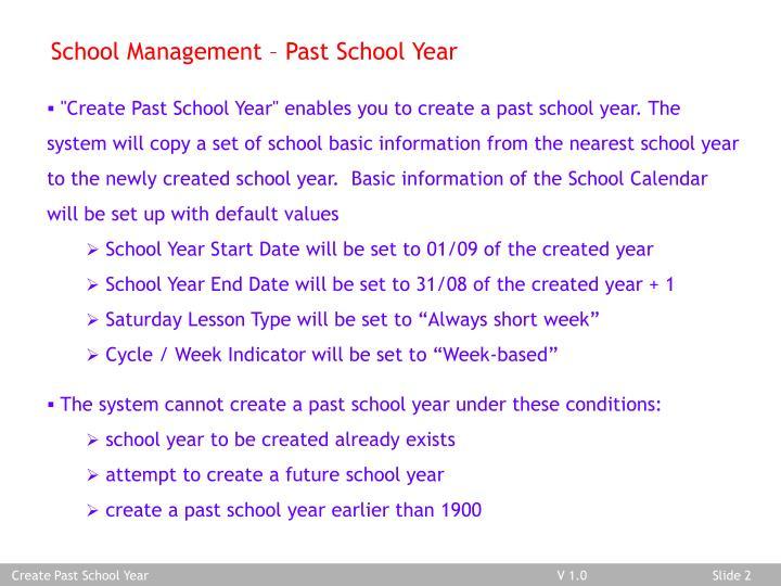 School Management – Past School Year