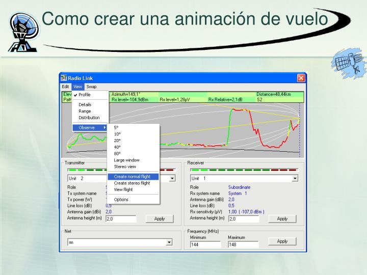 Como crear una animación de vuelo
