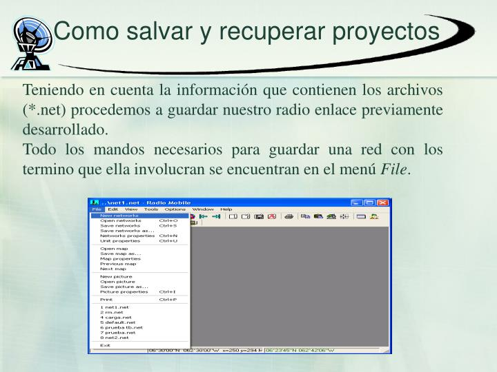 Como salvar y recuperar proyectos