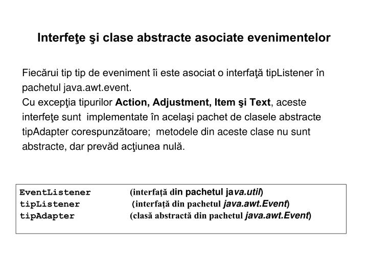 Interfeţe şi clase abstracte asociate evenimentelor