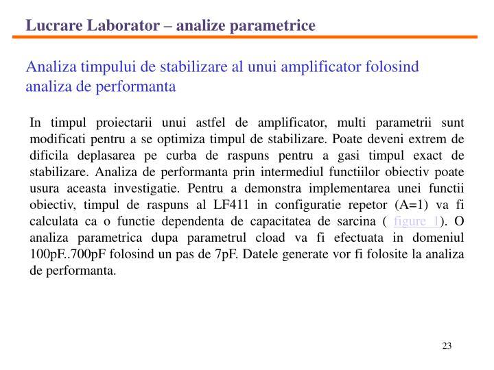 Lucrare Laborator – analize parametrice