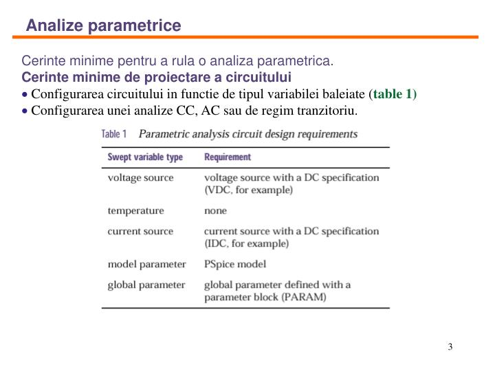 Analize parametrice
