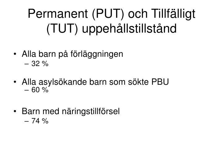 Permanent (PUT) och Tillfälligt (TUT) uppehållstillstånd
