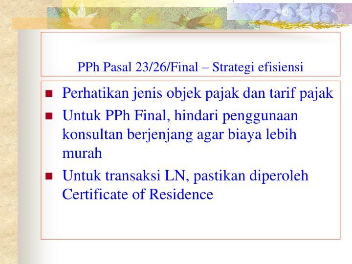 PPh Pasal 23/26/Final – Strategi efisiensi