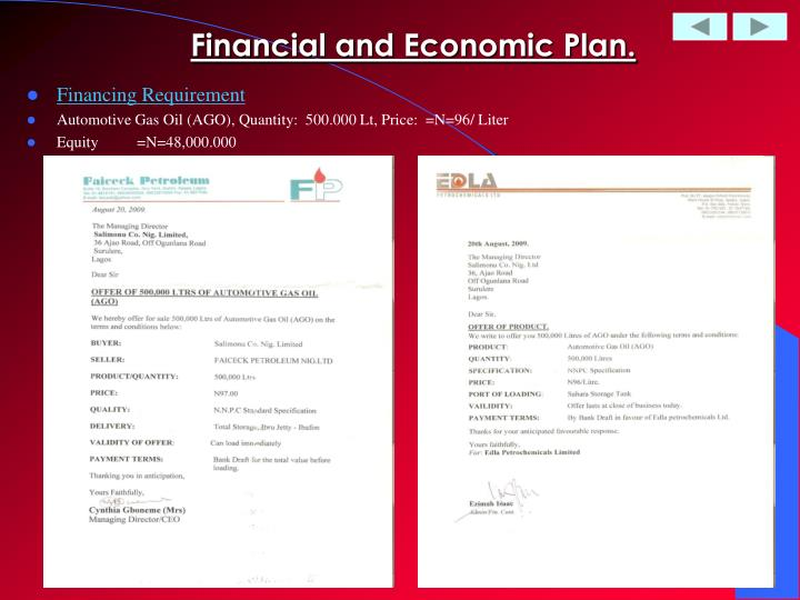 Financial and Economic Plan.
