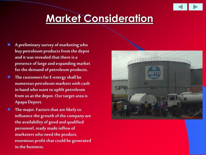 Market Consideration