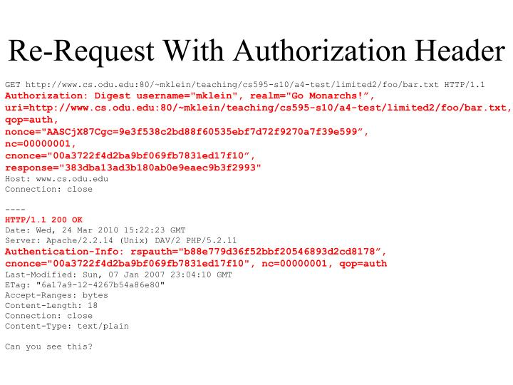Re-Request With Authorization Header