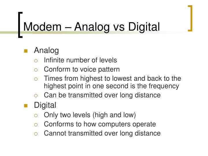 Modem – Analog vs Digital