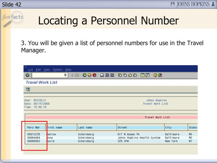 Locating a Personnel Number