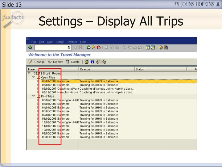 Settings – Display All Trips