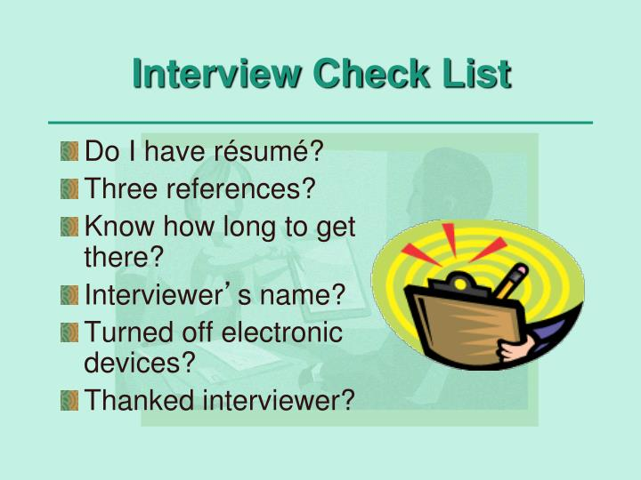 Interview Check List