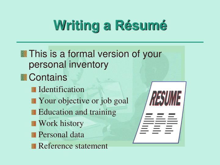Writing a Résumé