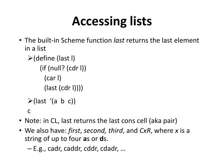 Accessing lists