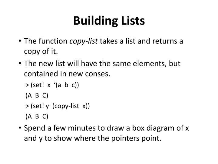 Building Lists