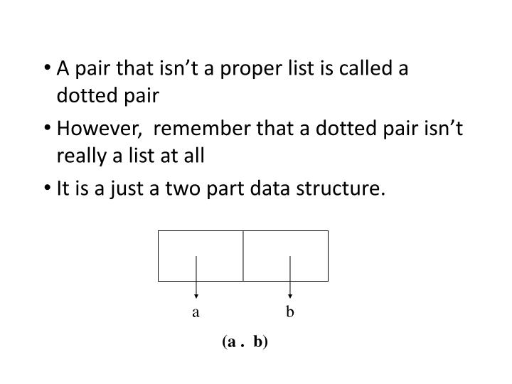 A pair that isn't a proper list is called a dotted pair