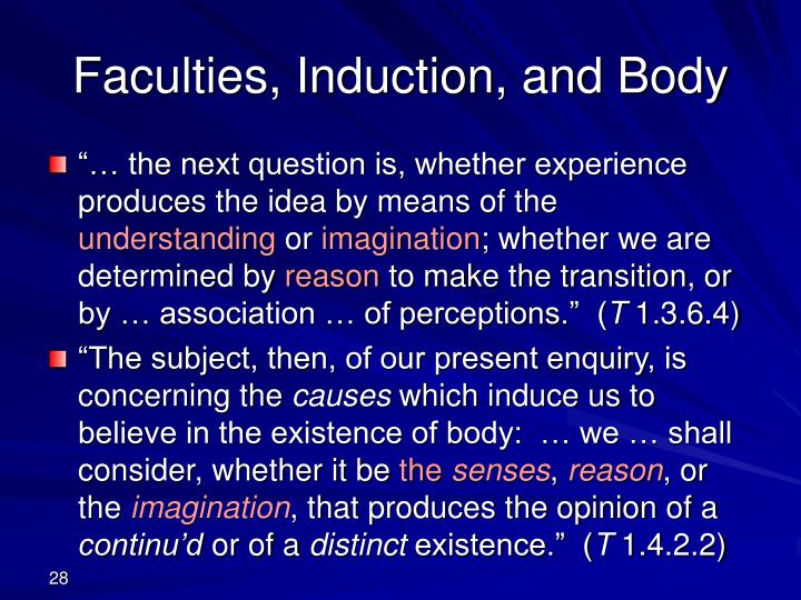Faculties, Induction, and Body