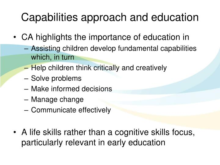 Capabilities approach and education