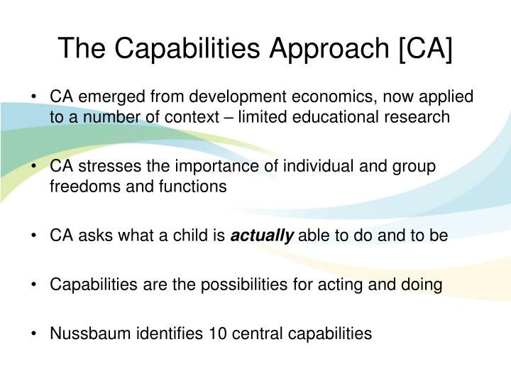 The Capabilities Approach [CA]