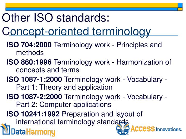 Other ISO standards: