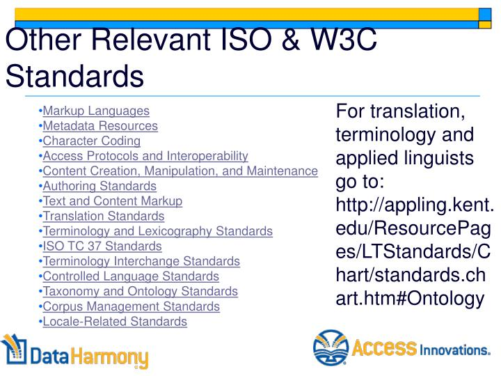 Other Relevant ISO & W3C Standards