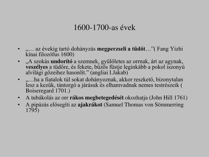 1600-1700-as évek