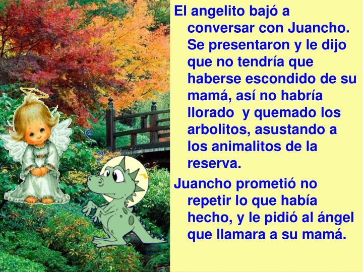 El angelito bajó a conversar con Juancho. Se presentaron y le dijo que no tendría que haberse escondido de su mamá, así no habría llorado  y quemado los arbolitos, asustando a los animalitos de la reserva.