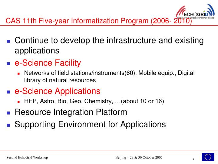 CAS 11th Five-year Informatization Program (2006- 2010)