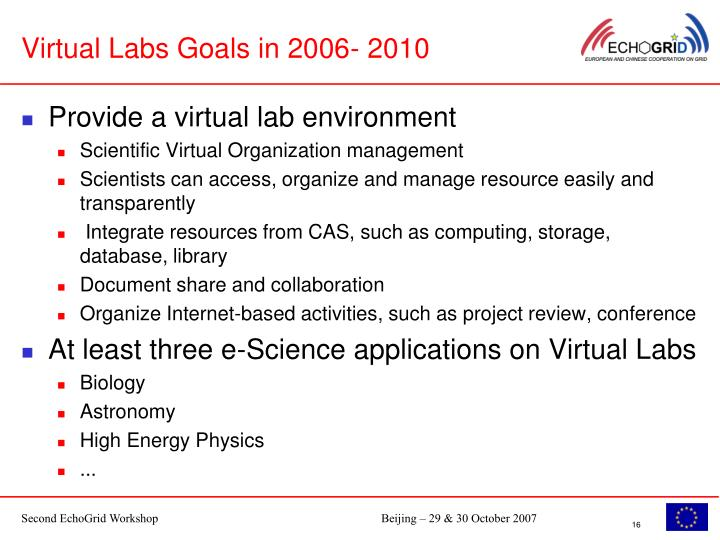 Virtual Labs Goals in 2006- 2010