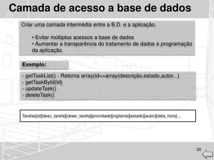 Camada de acesso a base de dados