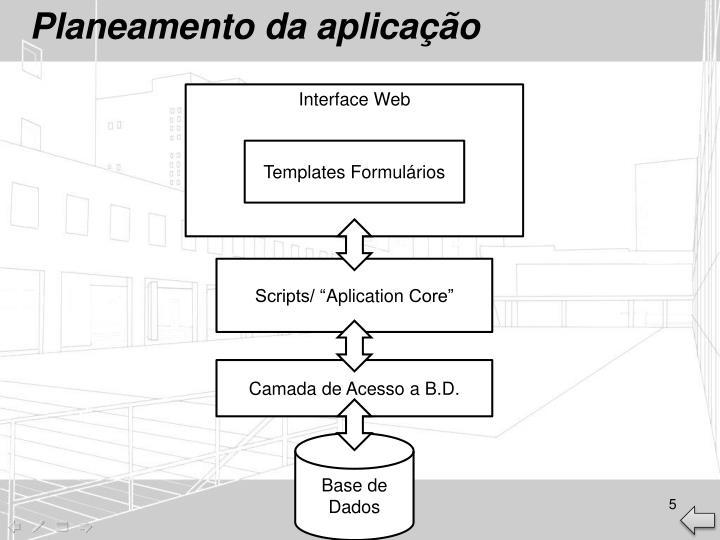 Planeamento da aplicação