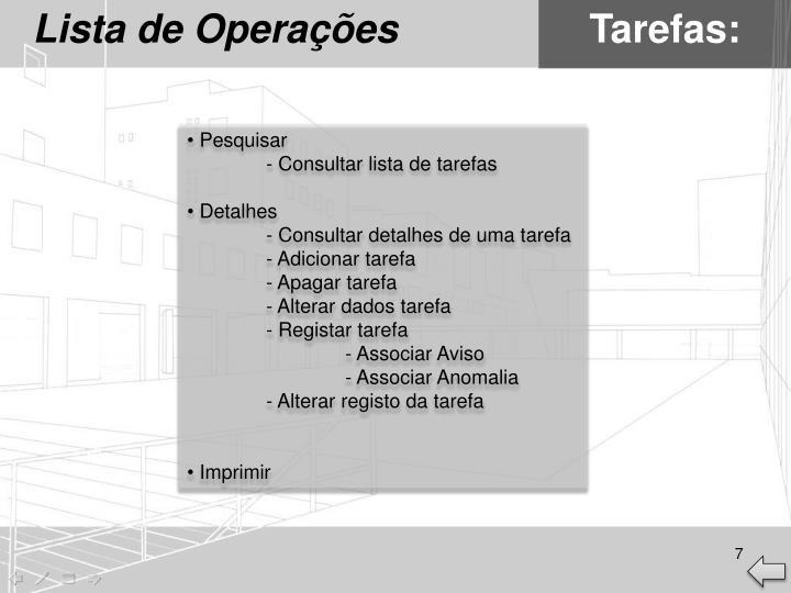 Lista de Operações
