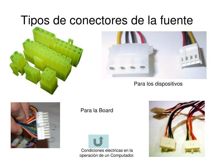 Tipos de conectores de la fuente