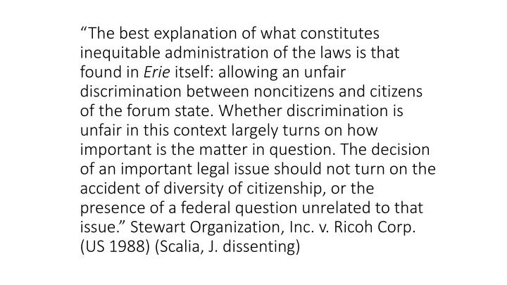 """The best explanation of what constitutes inequitable administration of the laws is that found in"